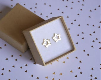Gold star earrings - Gold Stars earrings - Gift for girl