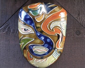 Pottery Mask, Handmade, Abstract Design, Multicolored, Wall Decor, FREE SHIPPING