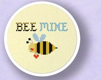 Bee Mine Cross Stitch Pattern, Pun Cross Stitch Pattern, Modern Simple Cute Counted Cross Stitch PDF Pattern, Instant Download