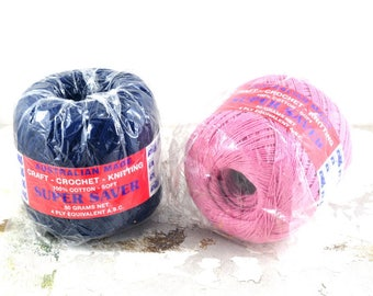 Vintage Soft Cotton Yarn - 4 Ply - 50 grams for Knitting, Crochet & Craft Projects - Australian Made - Dusty Pink or Navy Blue