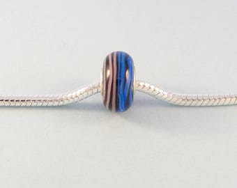Pink and blue charm bracelet bead / large hole bead fits European charm bracelet / glass bead with silver core