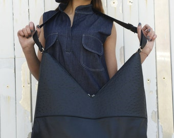 Black Leather Bag / Shoulder Woman Bag / Zipper Bag / Triangle Bag / Asymmetrical Large Bag by METAMORPHOZA