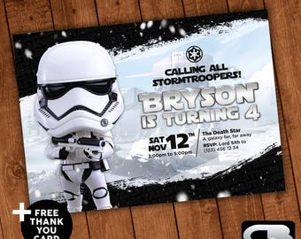 Star Wars Birthday Greeting Free ~ Star wars invitation with free thank you card star wars
