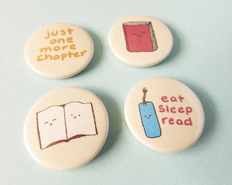 Book Lover Badge Pack, Book Badges, Book Pin, Bookworm, Book Gifts, Stocking Filler, Eat Sleep Read, Geeky Accessories, Bookshelf, Badges