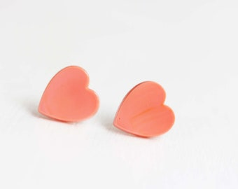 Large Coral Heart Studs, Pink Heart Studs, Heart Studs