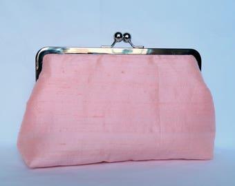 Pink Silk Clutch, Pink Wedding Clutch, Brides Clutch, Bridesmaid Clutch, Evening Clutch, Bridesmaids Gifts,Blush Bridesmaids Set