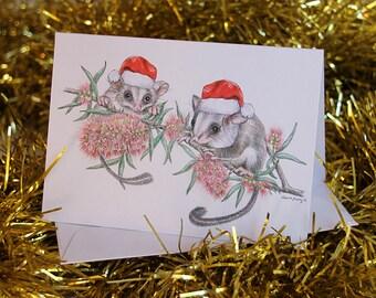 Australian christmas card with kangaroo family eucalypt gum australian christmas card with feathertail gliders santa hats couple bottle brush flowers tree wildlife australia cute animals m4hsunfo
