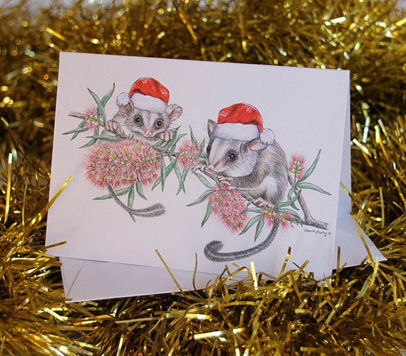 Australian christmas card with feathertail gliders santa m4hsunfo Choice Image