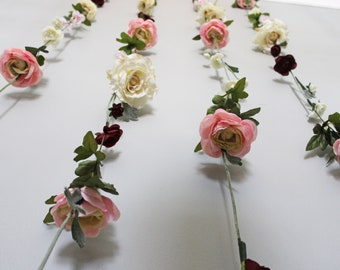 Flower backdrop etsy hanging flower backdrop wedding flower garland wedding ceremony backdrop silk flower garland wedding flower wall mightylinksfo