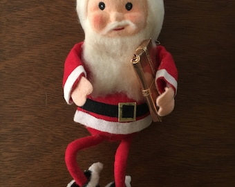 "Vintage Santa Claus with Present Knee Hugger ""Elf"" Ornament - 1960s"