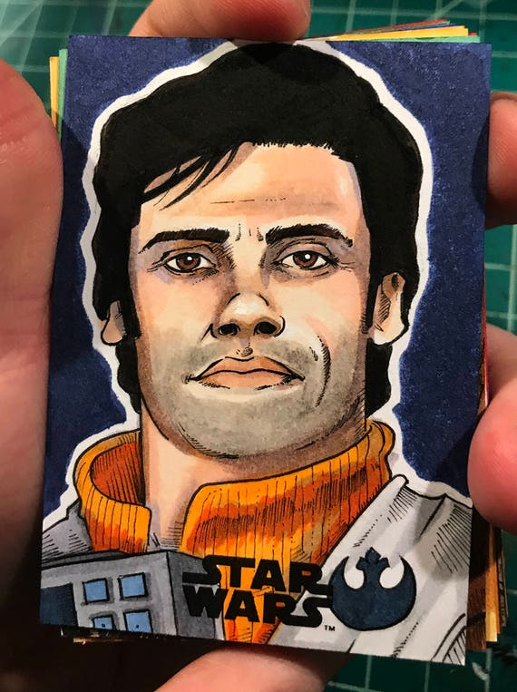 Journey to the Last Jedi Original Artist Sketch Card: Poe Dameron