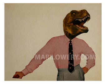 Dinosaur Art, Geekery, Paper Collage Print, 8x10 Inch Print, Man Cave Decor, Retro Wall Art for Men, frighten