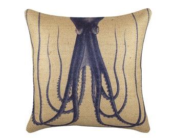 Burlap Octopus Pillow, Nautical Cushion, Beige, Navy, Coastal Decor, Beach House