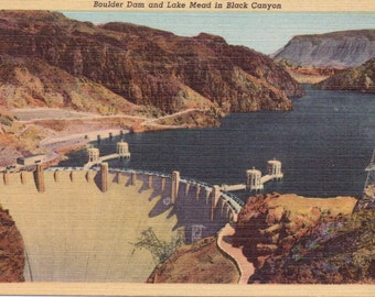 Boulder Dam, Lake Mead, Black Canyon - Vintage Postcard - Postcard - Unused (A11)