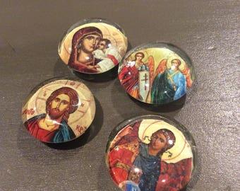 Greek Orthodox Icon Magnets, Set of four