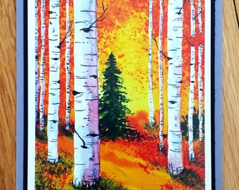 Autumn Birches - Greeting Card, A2, Blank or Choice of Text, Handmade, Print of Original Watercolor Painting