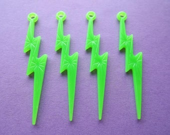 Medium charms flashes dark green neon (x 4)
