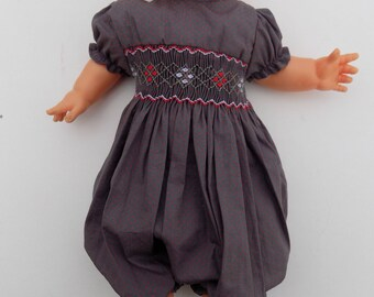 Doll clothing, smocked romper, combination, dolls, corolle, 36 cm, 42 cm, hand smocked, embroidered hand, original gift, birthday, Easter, Christmas
