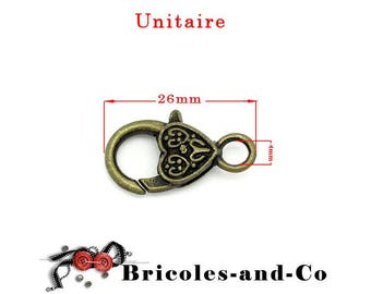 Bronze heart lobster clasp. Size 26mm. Unit