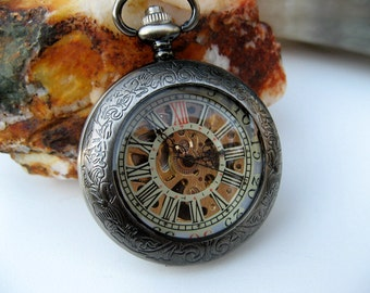 Premium Victorian Gunmetal Pocket Watch with Watch Chain, Engraved Watch, Personalized Gift, Gift Boxed - Item MPW249e