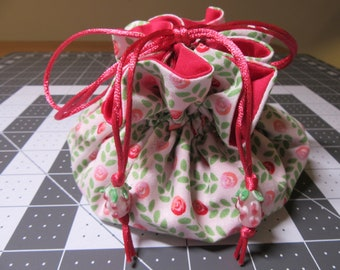 Jewelry Drawstring Travel Pouch/Tote/Bag/Organizer - Large Size - Handmade - Magenta, Pink, Green, White
