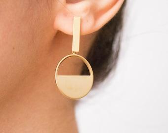 Sunset -earrings (16k gold plated minimal linear circle geometric earrings)