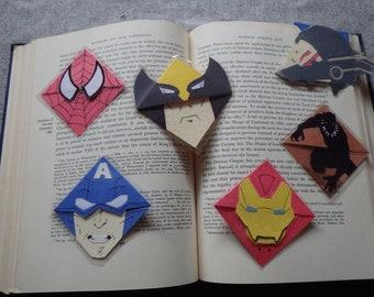 Laminated Thor Ragnorak, Captain Marvel, Moon Knight Corner Bookmark
