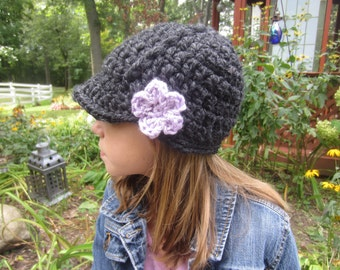 Girls Newsboy Hat - Kids Brimmed Hat - Chunky Crochet Knit Newsboy Hat - Charcoal with Purple Flower