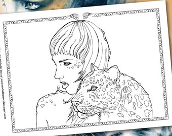 Fantasy Coloring Pages 'Leopard Totem' - Totem Animals, Leopards, Animal, Portraits, Colouring Pages for Adults, Printable, Digital Stamp