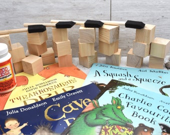 Wooden Blocks and books. Great for: Baby Shower Crafts; Craft Party; Childrens Blocks; Nursery Décor; Baby Décor; Baby Shower Gift; New Baby