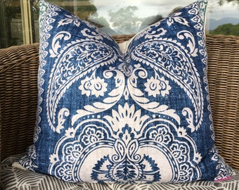 blue pillow cover, blue Hamptons style pillow, navy cushion, blue and green cushion, coastal blues decor, botanical pillow, blue and white