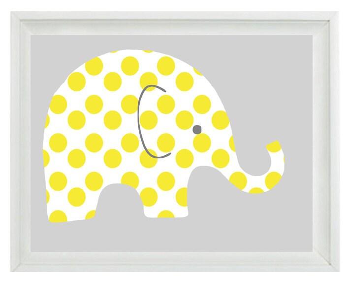 Elephant Nursery Wall Art Print Yellow Gray Decor Polka Dots