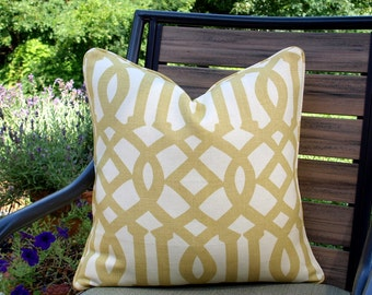 Both or One Side - ONE Schumacher Imperial Trellis Citrine Pillow Cover with Seam Cording