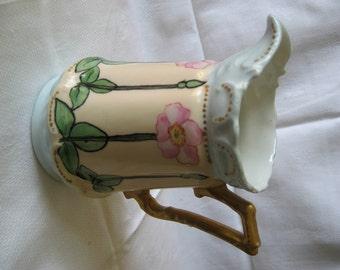 Antique 1900's Art Nouveau Porcelain Pitcher Hand-Painted Roses & Gold Leaf