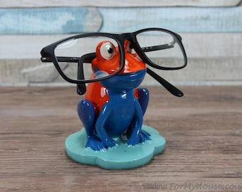 Orange and blue Frog glasses holder