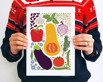 Vegetable Print, Kitchen Decor, Vegetable Art, Retro Kitchen Decor,Food Art,  Foodie Gifts, Food Lover, Healthy Eating, Bon Appetit, A4, A3