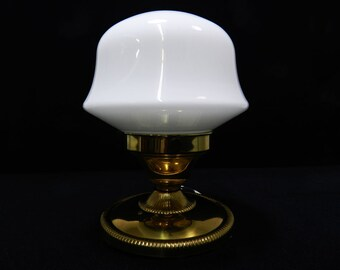 Vintage Mid Century Wall ceiling brass light fixture lamp glass shade