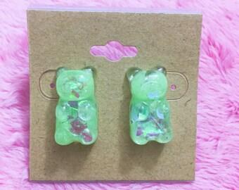Green Sparkle Gummy Bear Earrings