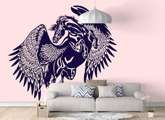 Pegasus - The mythological winged horse - Wall decals / stickers for magical minds, Colt Stallion Mustang Pony Zeus Sticker Greece