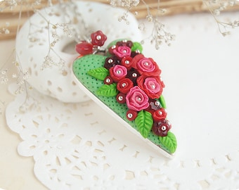 Red heart necklace Red rose flower necklace Green leaves jewelry for wife Botanical jewelry Special gift for her Mother day gift for wife
