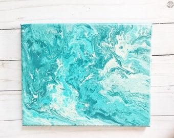 """Original Acrylic Pour Painting- 8x10""""-Blues"""