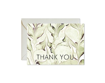 THANK YOU Sage Green Marble Notecards + Envelopes Pack | Boxed Set (8) | Abstract | Modern | Fresh