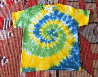Jugend XS Spirale Tie Dye-t-shirt - Löwenzahn Wirbel - sofort lieferbar
