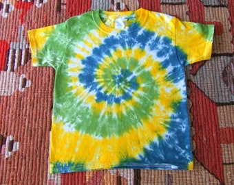 Youth XS Spiral Tie Dye T-shirt - Dandelion Swirl - Ready to Ship
