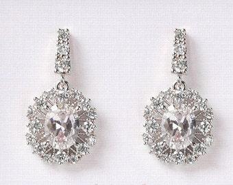 Wedding Jewelry Silver Earrings Drop Earrings Bridal Accessories Bridal Jewelry Crystal Earrings Dangle Earrings Bridesmaid Gift E343-S