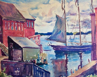 Isabelle S. WengenrothWatercolor of Eastport, Maine Harbour
