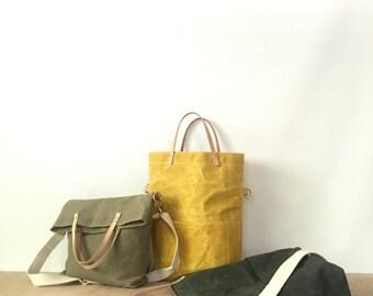 waxed canvas field bag / crossbody foldover tote