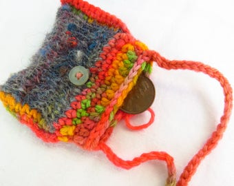 Scrapped Taffy - Handspun, handknit and crocheted pouch - amulet pouch, crochet rainbow, beaded, good luck charm, necklace, freeform style