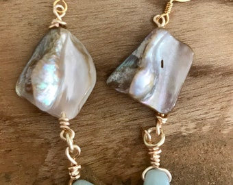 Abalone and Amazonite Earrings