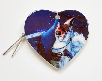 Blue Marlin Hooked up Holiday Christmas ornament heart shaped porcelain ready to hang